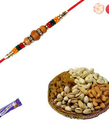 Buy Fancy sandalwood rakhi with dryfruits sandalwood-rakhi online