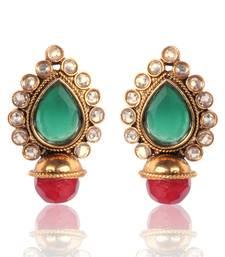 Buy Elegant Green with Maroon Earring By Adiva v33g stud online