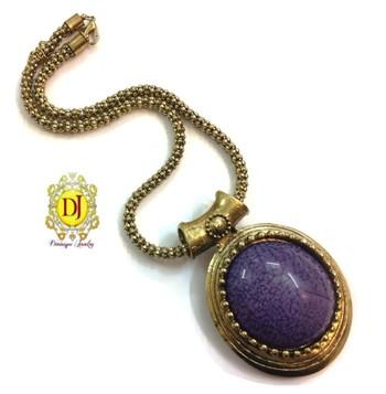 Dark purple pendent  Wooden beads necklace