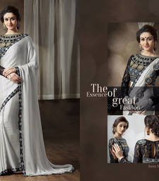 Buy grey embroidered georgette saree With Blouse heavy-work-saree online