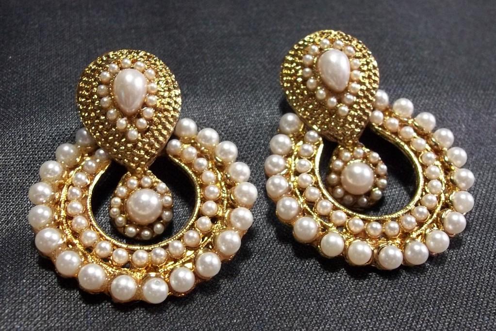 Buy white pearl polki earrings Online