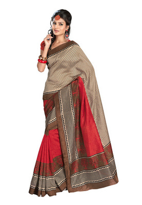 Fabdeal Casual Wear Cream & Red Colored Bhagalpuri Silk Saree