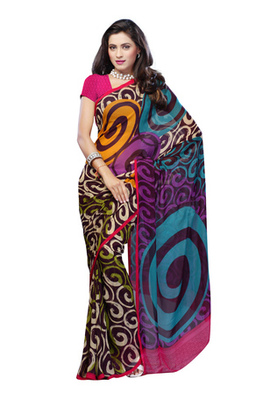 Fabdeal Casual Wear Multi Colored Georgette Saree