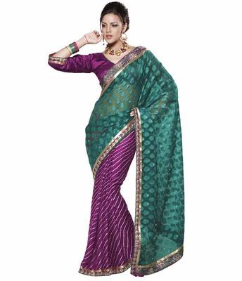 Dealtz Fashion Multi Embroidery Sea Green Net Jacquard/Brasso Saree