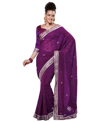 Dealtz Fashion Multi Embroidery Orchid Moss Saree