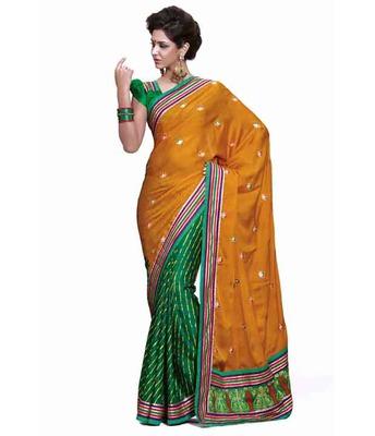 Dealtz Fashion Multi embroidery Multi Faux georgette Saree