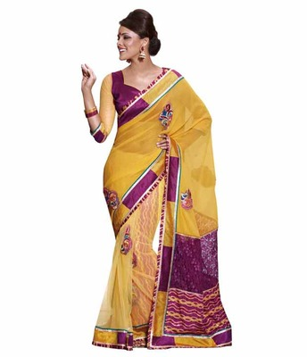 Dealtz Fashion Multi embroidery Yellow Faux georgette Saree
