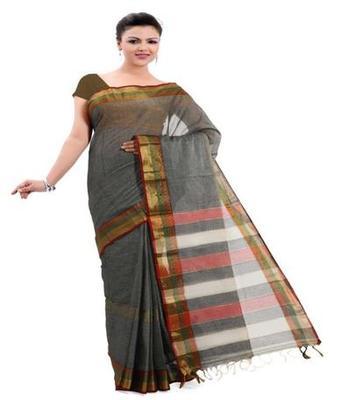 Dealtz Fashion Grey Cotton Mercerised Saree
