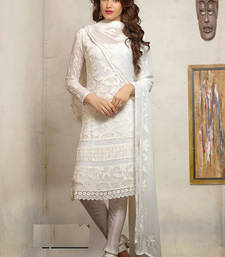 Buy White art silk embroidered unstitched salwar with dupatta pakistani-salwar-kameez online