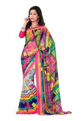 Fabdeal Casual Wear Pink & Green Colored Georgette Saree