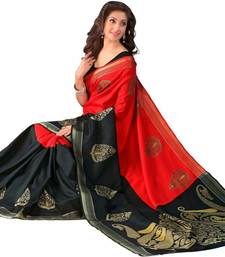 Buy Red printed pure Bhagalpuri silk saree With Blouse bhagalpuri-silk-saree online