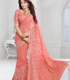 Buy chiffon saree by kmozi (peach) Woman online