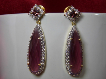 Beautiful American Diamond Long Earring of Shaded Pink color