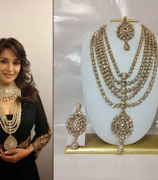 Buy Famous Bollywood Replica Jewelry Set in White with Pearls bridal-set online