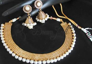 Beautiful pearl antique necklace set with jhumkka