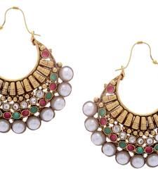Buy BEAUTIFUL GOLD PLATED RED GREEN N WHITE PEARLS HOOK HANGINGS danglers-drop online