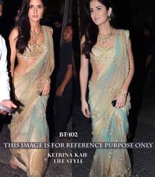 Buy golden embroidered net saree With Blouse katrina-kaif-saree online