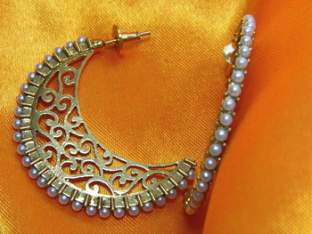 Beautiful designer look Antique half Bali/Earring studded with white Pearls