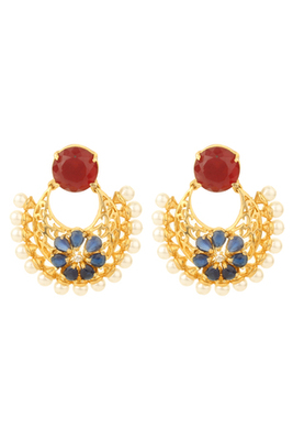 HAPPINESS Collection Blue Red Colour Gold Plated Filigree Earrings For Women
