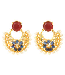 Buy HAPPINESS Collection Blue Red Colour Gold Plated Filigree Earrings For Women danglers-drop online