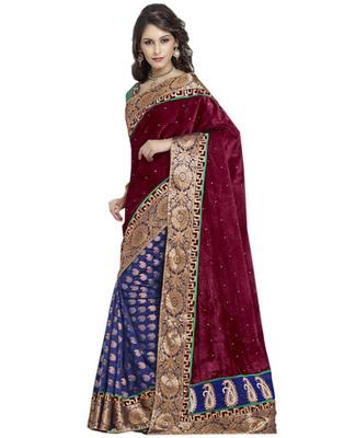 Multi Color Velvet, Viscose Designer Border Worked Saree