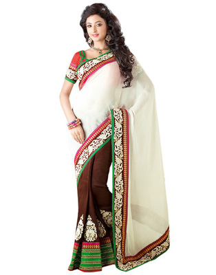 White & Brown Georgette Party Wear Saree