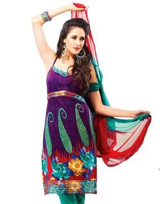 Designer Purple Color Summer Cotton Fabric Printed Dress Material