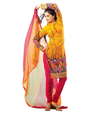 Designer Mustard, Red Color Summer Cotton Fabric Printed Dress Material