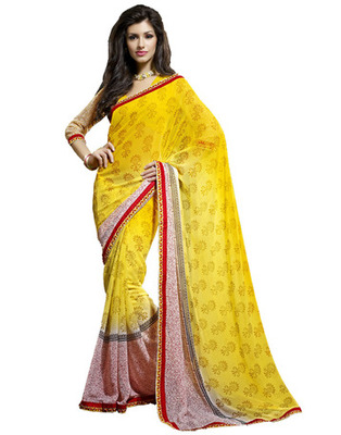 Designer Yellow Color Chiffon Fabric Printed Saree