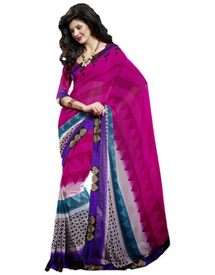 Designer Pink Color Faux Georgette Fabric Printed Saree