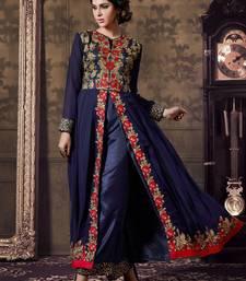 Buy Blue georgette embroidered semi stitiched salwar with dupatta indowestern online