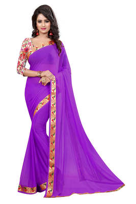 purple plain nazneen saree With Blouse
