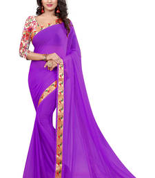 Buy purple plain nazneen saree With Blouse ethnic-saree online