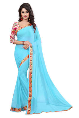 sky_blue plain nazneen saree With Blouse