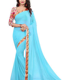 Buy sky_blue plain nazneen saree With Blouse ethnic-saree online