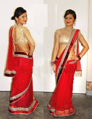 Attractive red georgette saree