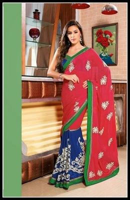 Splendorous Blue & Red Embroidered Saree