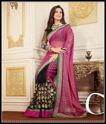 Butta Black & Pink Embroidered Saree