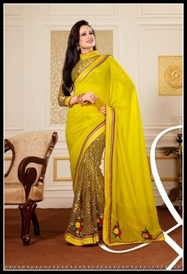 Alluring Brown & Yellow Embroidered Saree