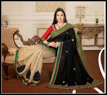 Tranquil Beige & Black Embroidered Saree