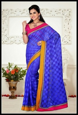 Tantalizing Royal Blue Embroidered Saree
