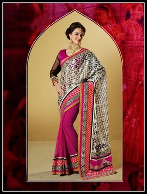 Splendorous Deep Pink, Beige & Off White Embroidered Saree