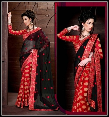 Sparkling Black & Red Embroidered Saree