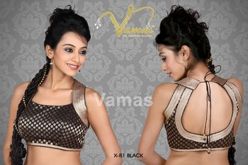 Sleeveless Brocade multilaced saree blouse x -81b black Muhenera presents designer readymade blouse  collection