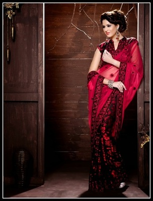 Lush Black & Red Embroidered Saree