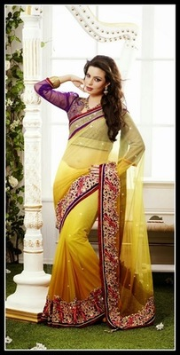 Tranquil Orange & Yellow Embroidered Saree