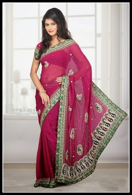 Alluring Pink Embroidered Saree
