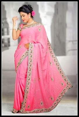 Majesty Pink Embroidered Saree