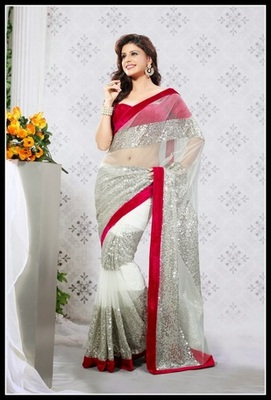Fancy Off White & Silver Embroidered Saree