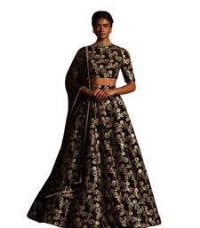 Buy Fabron Black sequins embroidered raw silk semi stitched lehenga choli material with matching net dupatta black-friday-deal-sale online
